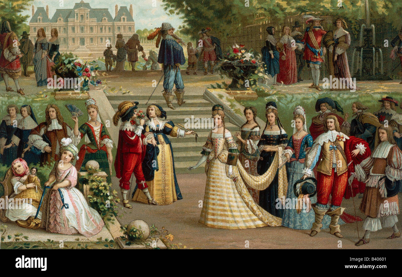 fashion, 17th century, courtly fashion, France, 17th century, engraving by Nordmann after painting by Legrand, 19th - Stock Image