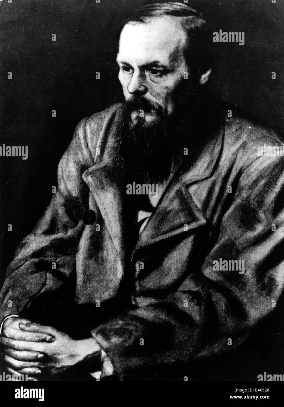 Dostoevsky, Fyodor Mikhailovich, 11.11.1821 - 9.2.1881, Russian writer, novelist, half length, painting, Additional - Stock Image