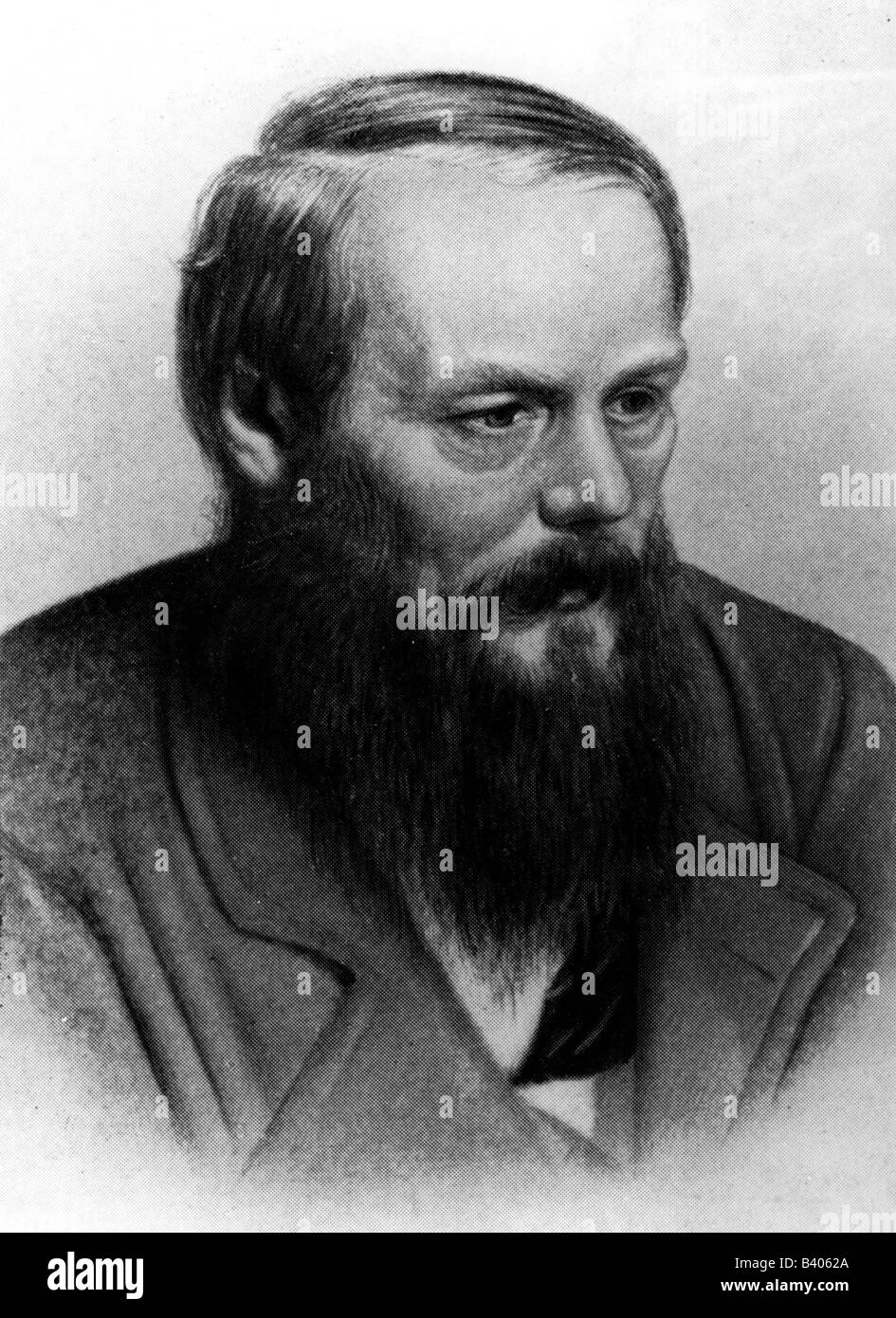 Dostoevsky, Fyodor Mikhailovich, 11.11.1821 - 9.2.1881, Russian writer, novelist, portrait, after collotype by A. - Stock Image