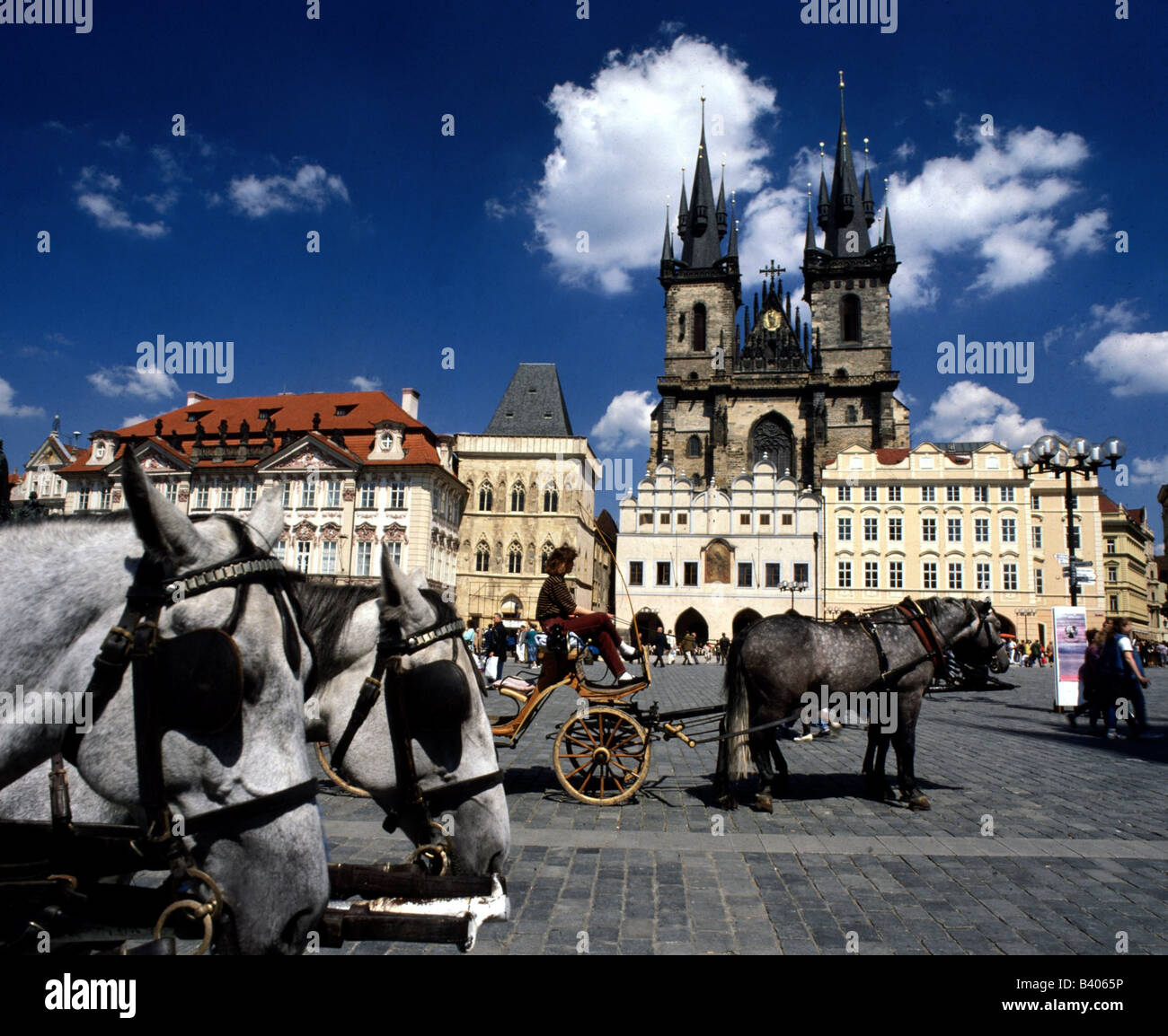 geography / travel, Czech Republic, Prague / Praha, Old Town (Stare Mesto), square, church of virgin Mary in front - Stock Image