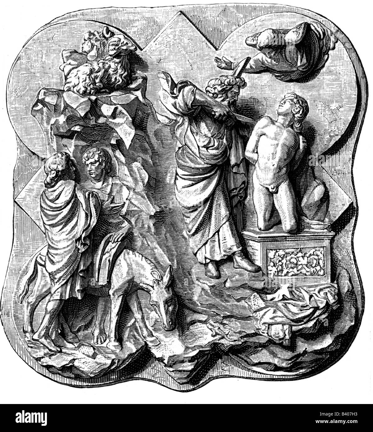 Abraham, son of Terah, forefather of Hebrews, second sacrifice of Abraham - Isaac - bronze relief by Filippo Brunelleschi, - Stock Image