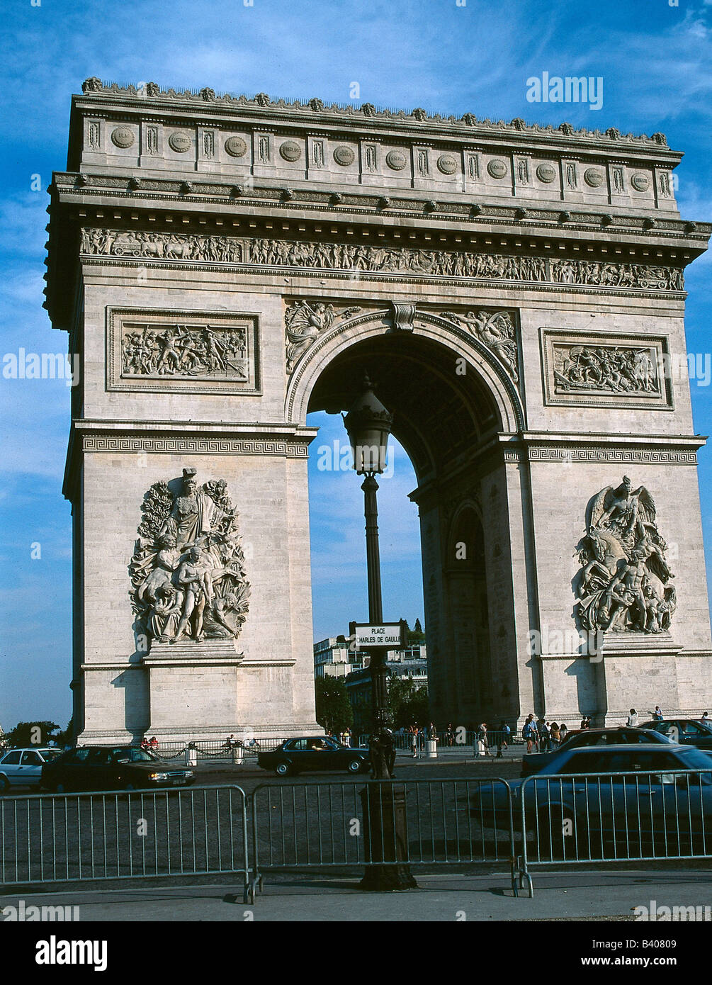 geography / travel, France, Paris, Arc de Triomphe, built 1806 - 1836 according to plans of Jean Francois Chalgrin Stock Photo