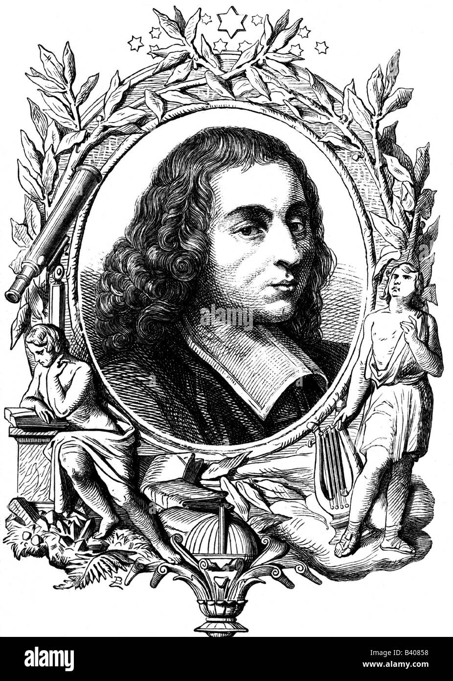 Pascal, Blaise, 19.6.1623 - 19.8.1662, French mathematician, philosopher and physicist, portrait, allegorical portrayal, - Stock Image