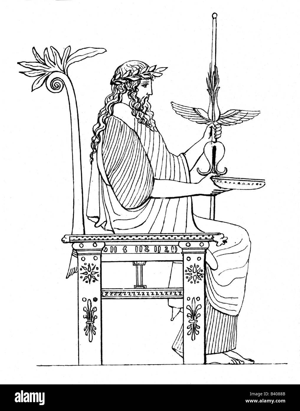 Zeus (latin Jupiter), greek 'divine king', leader of gods, god of sky and thunder, illustration, Greek, - Stock Image