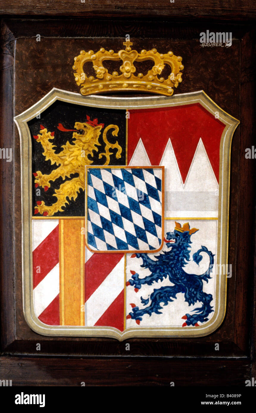 heraldry, coat of arms, Germany, Kingdom of Bavaria, crest 1835 - 1919, Additional-Rights-Clearances-NA - Stock Image