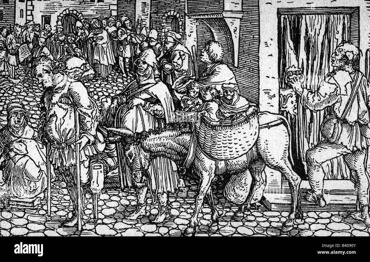 people, hardship / adversity, Middle Ages, beggars, beggar family, woodcut, by the Master of the Trostspiegel (Comfort - Stock Image