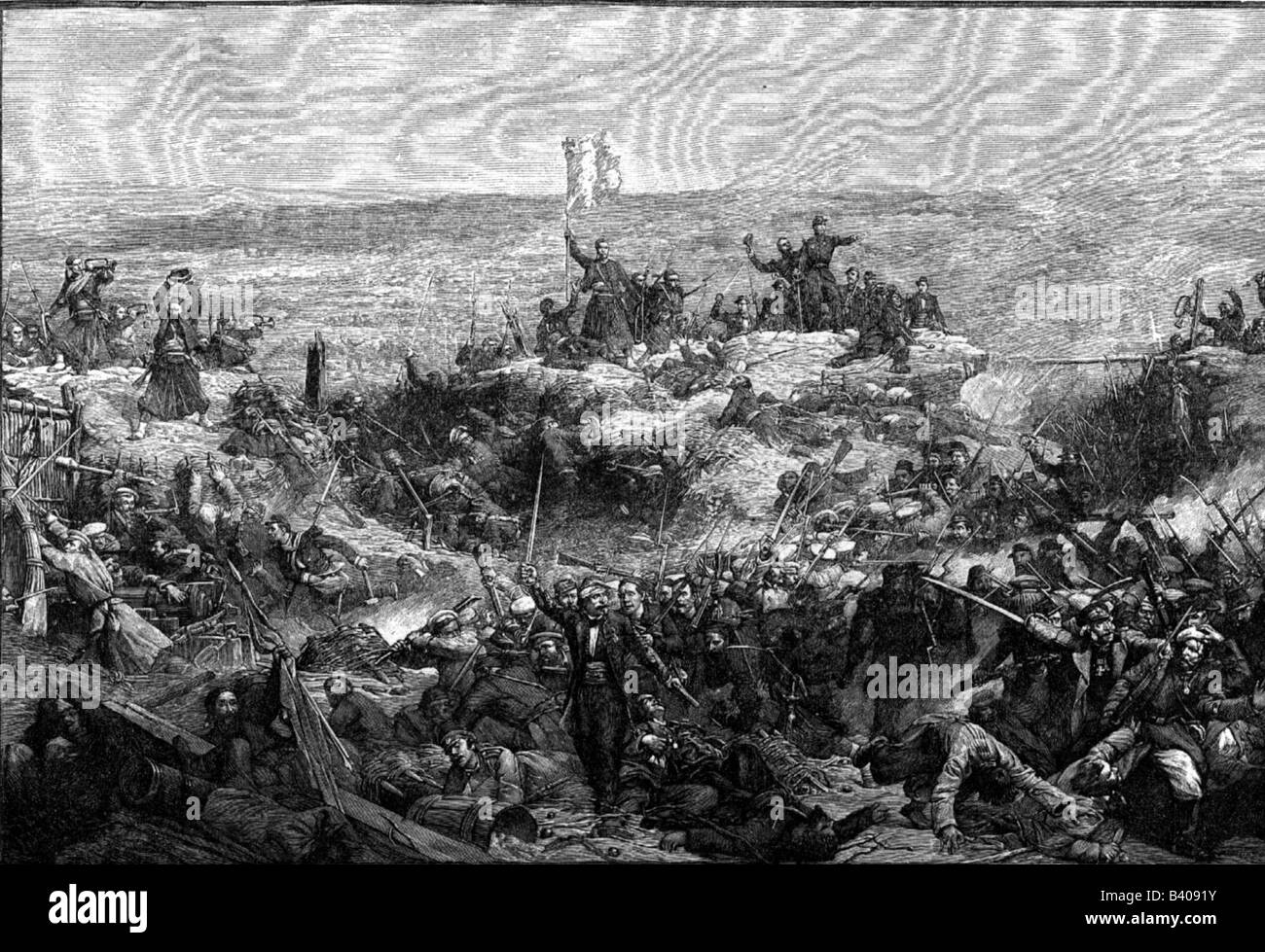 Crimean War 1853 - 1856, siege of Sevastopol 1854 / 1855, escalade of Malakhov by French Zouave, 8.9.1855, wood - Stock Image