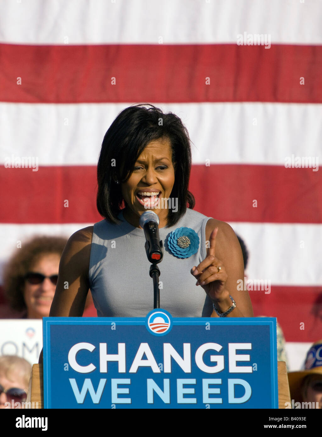 Michelle Obama speaks to supporters at a UVA rally. - Stock Image