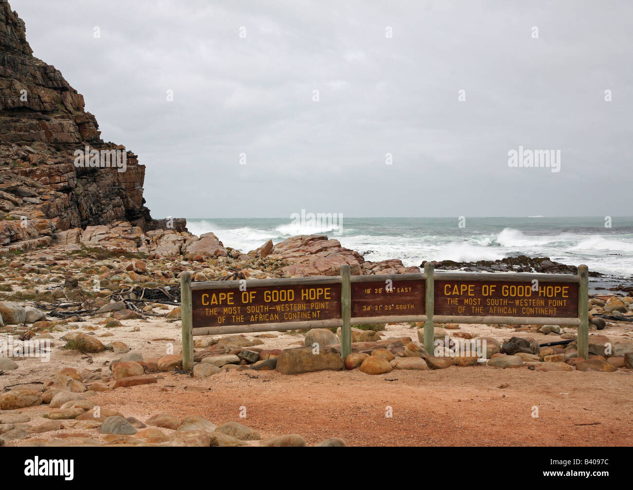Sign at Cape of Good Hope, most southerly point in South africa - Stock Image