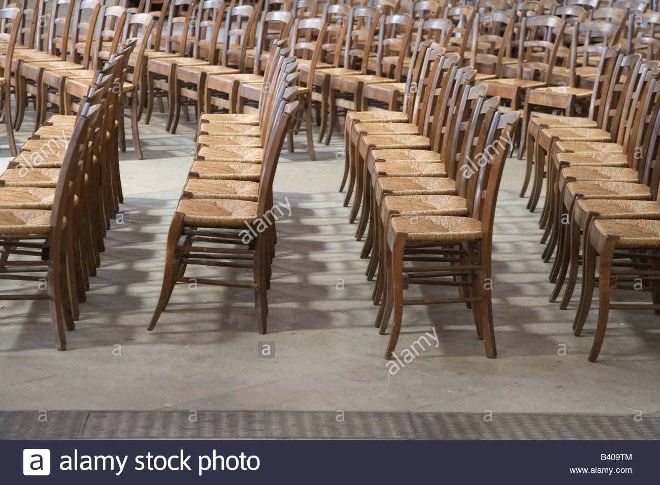 rows of old style wooden chairs in church St Eustache France Paris & rows of old style wooden chairs in church St Eustache France Paris ...