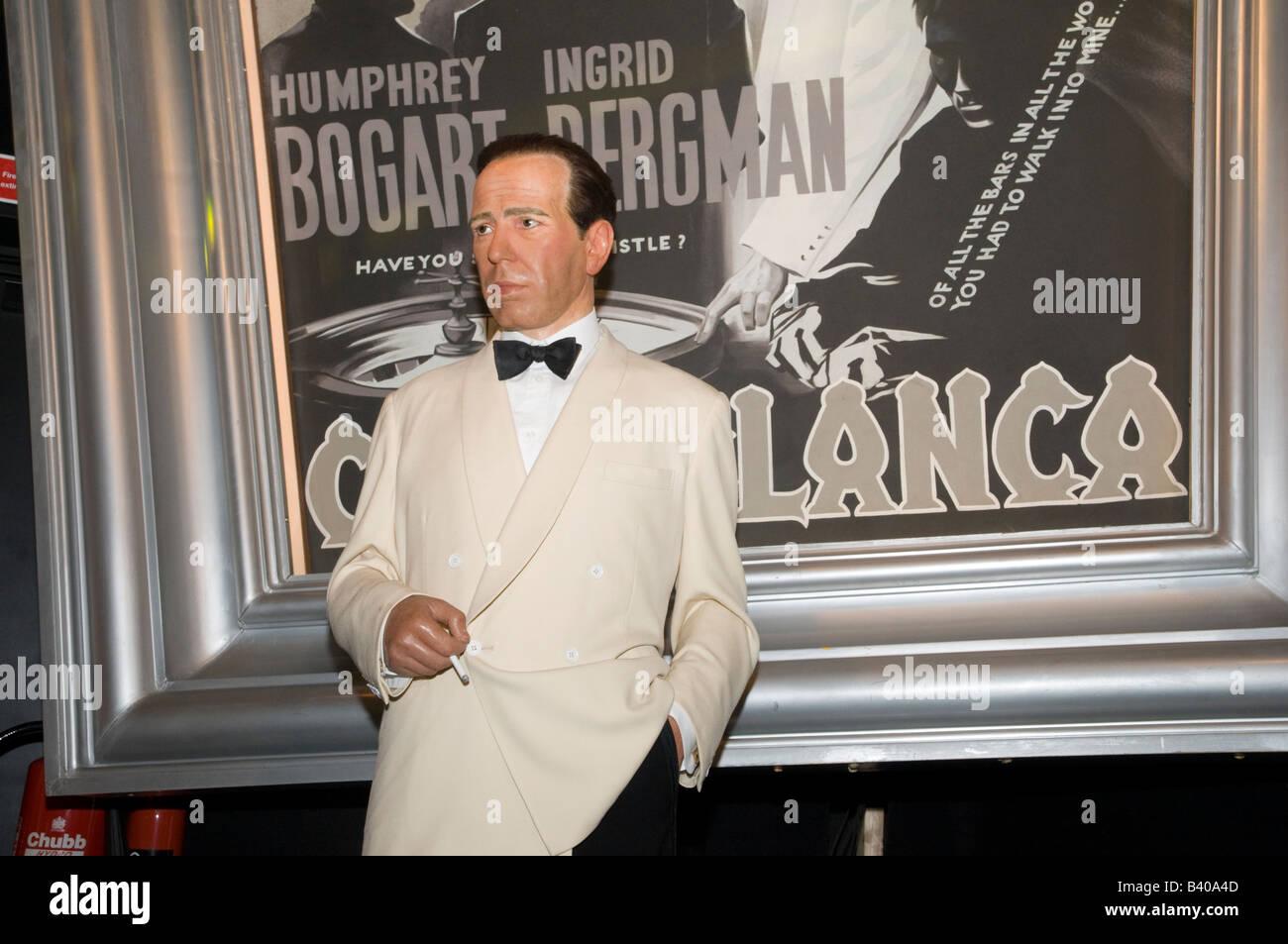 Waxwork model of Humphrey Bogart in the film Casablanca at Madame Tussauds, London, UK - Stock Image