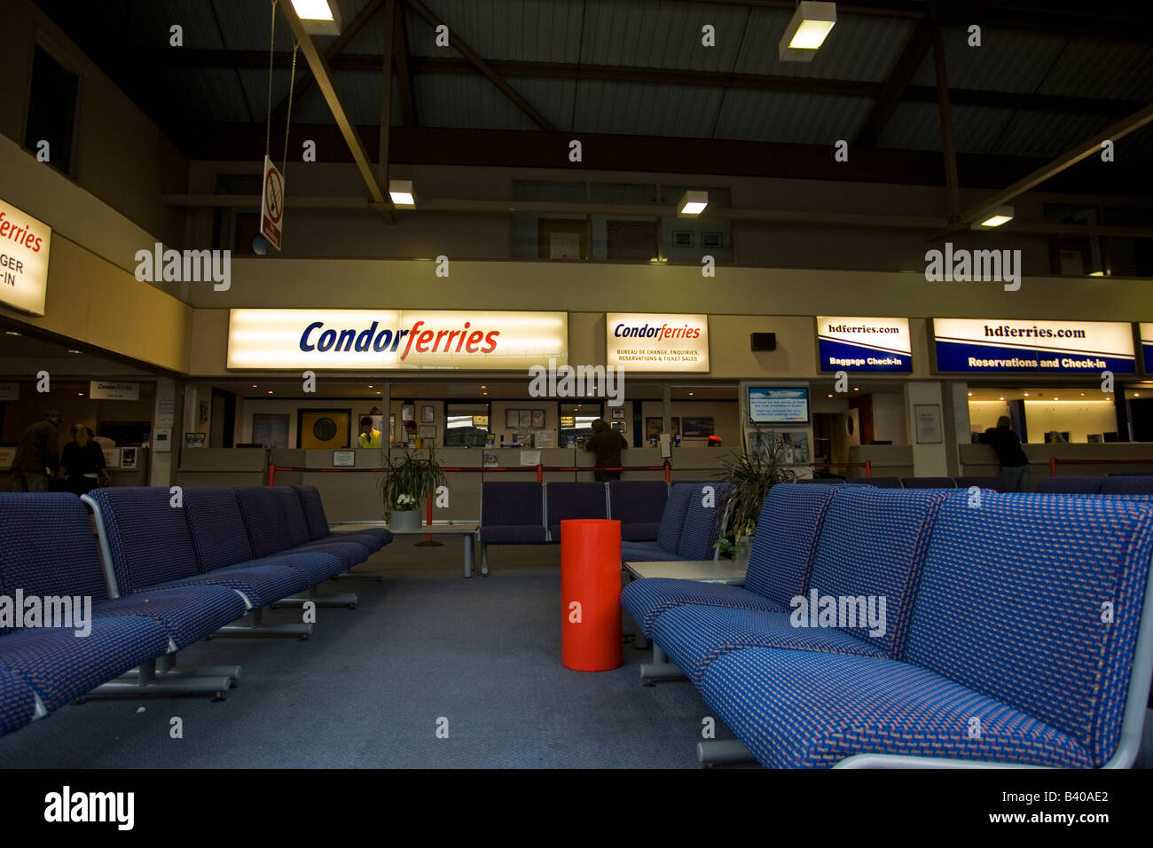 Elizabeth Terminal Ports of Entry Arrivals hall at  St Helier ferry port Jersey - Stock Image