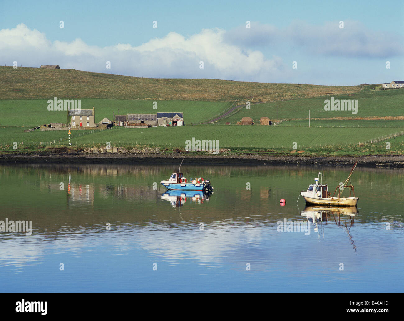 dh houton bay orphir orkney small fishing boats and farm house boat