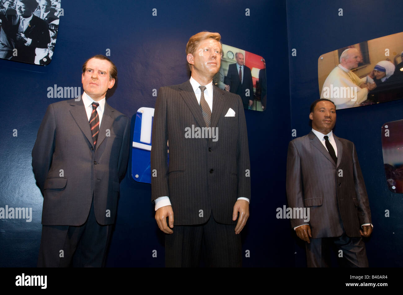 5d86608088a Waxwork models of Richard Nixon John F Kennedy and Martin Luther King Jr at Madame  Tussauds