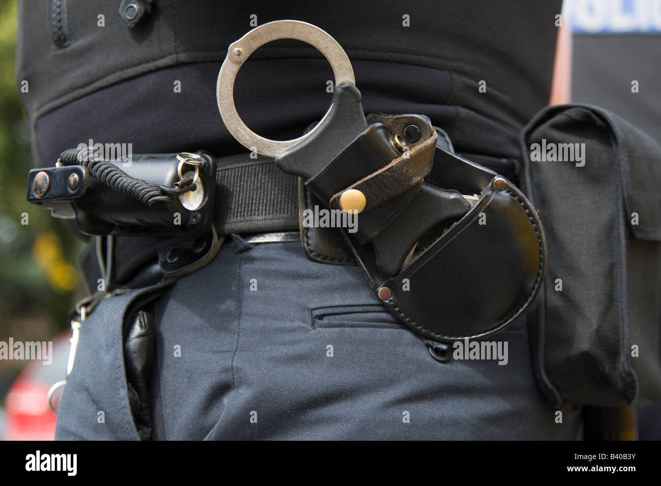 A Police Officers high visibility presence - Stock Image