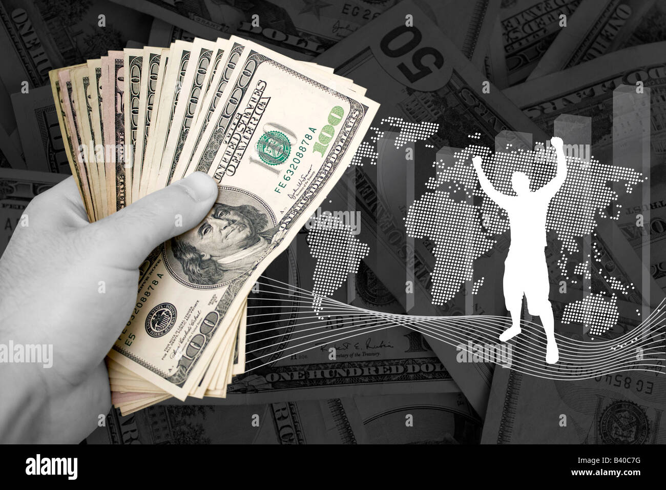 A handful of cash isolated over a gold background - Stock Image