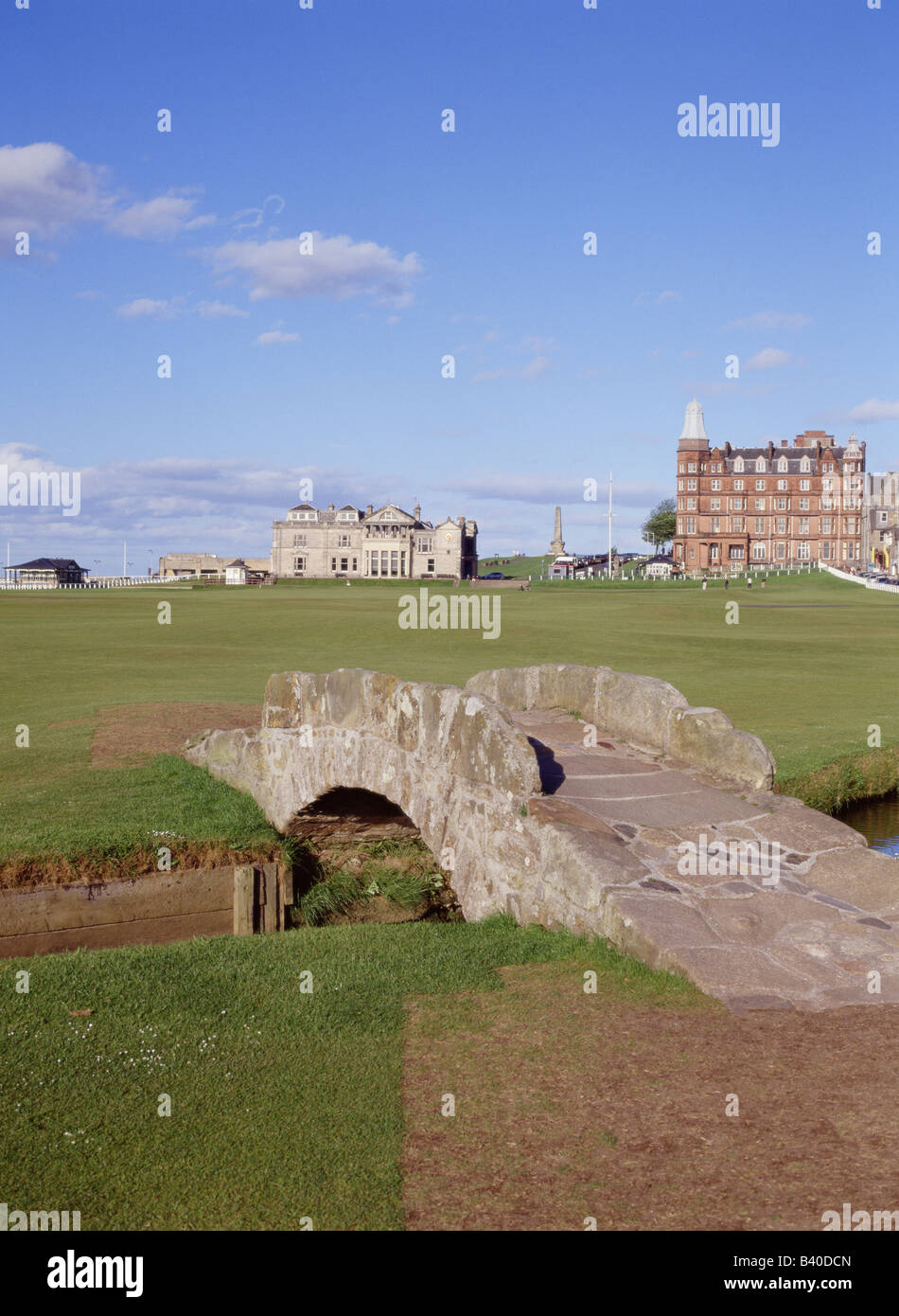 dh Swilcan bridge eighteenth ST ANDREWS FIFE Famous 18th hole Royal and Ancient old course scottish links courses uk golf scotland Stock Photo