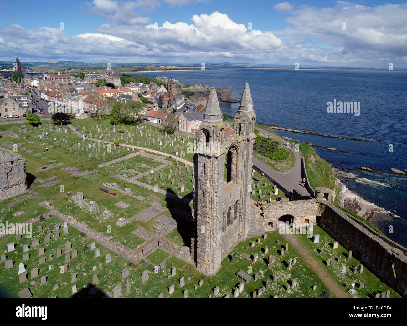 dh Cathedral ST ANDREWS FIFE Catherdral ruins cemetery town castle and North street Saint andrew scotland Stock Photo