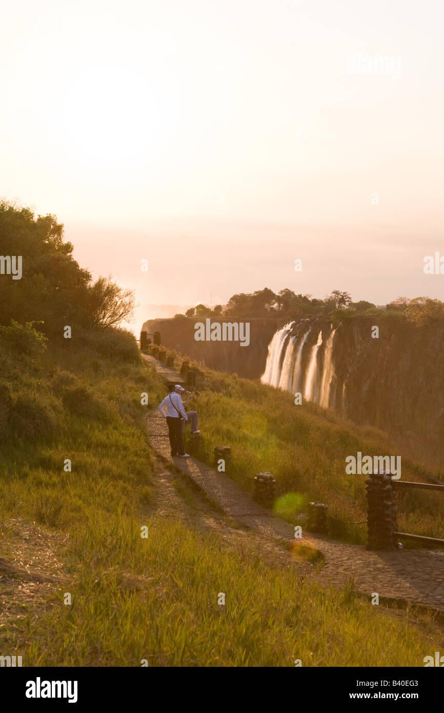 Victoria falls  at sunset. Livingstone Zambia Africa - Stock Image