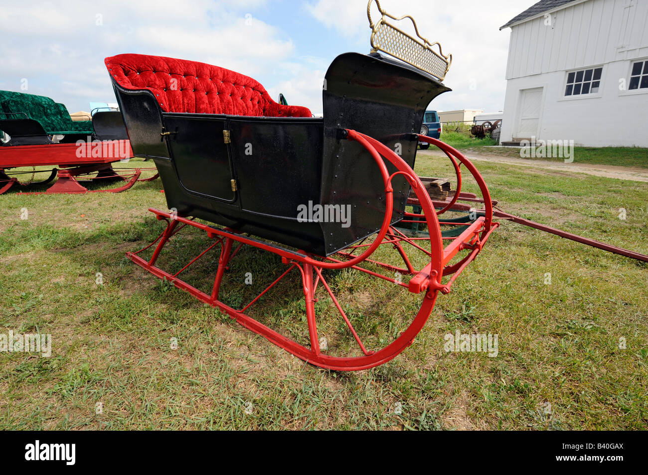 Old horse drawn sleigh carriage Stock Photo