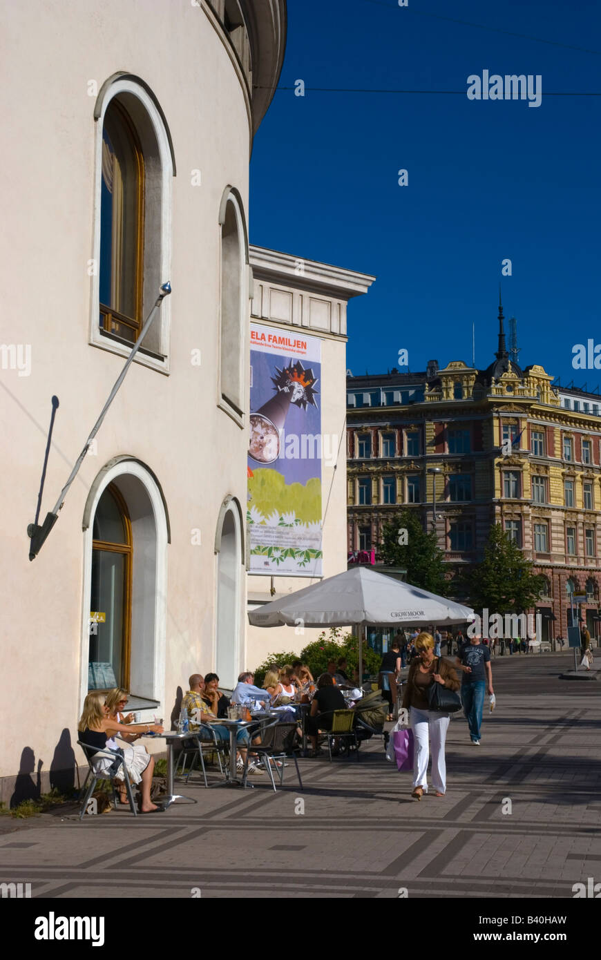 Cafe outside the Svenska teatern the Swedish language theatre along Mannerheimintie in Helsinki Finland Europe - Stock Image