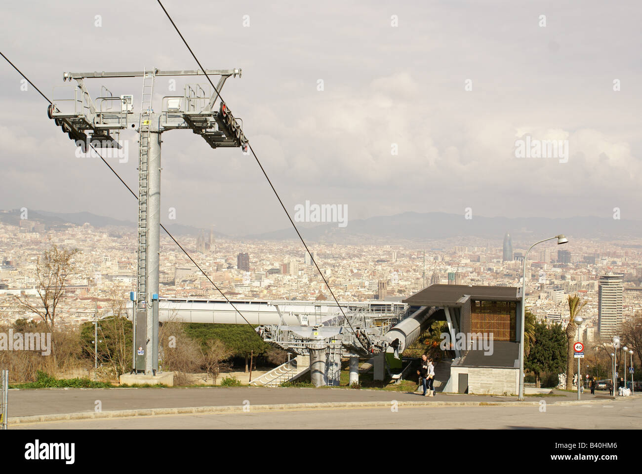 Cable-car wires on the Montjuïc, Barcelona, Spain - Stock Image