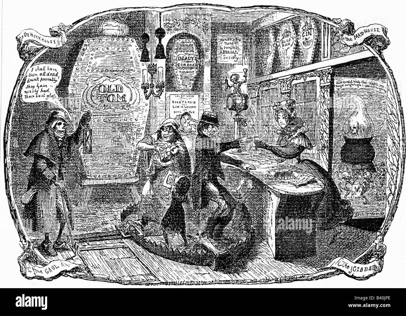 alcohol, alcoholism, 'The Gin Shop', caricature by George Cruikshank, 1829, , Additional-Rights-Clearances - Stock Image