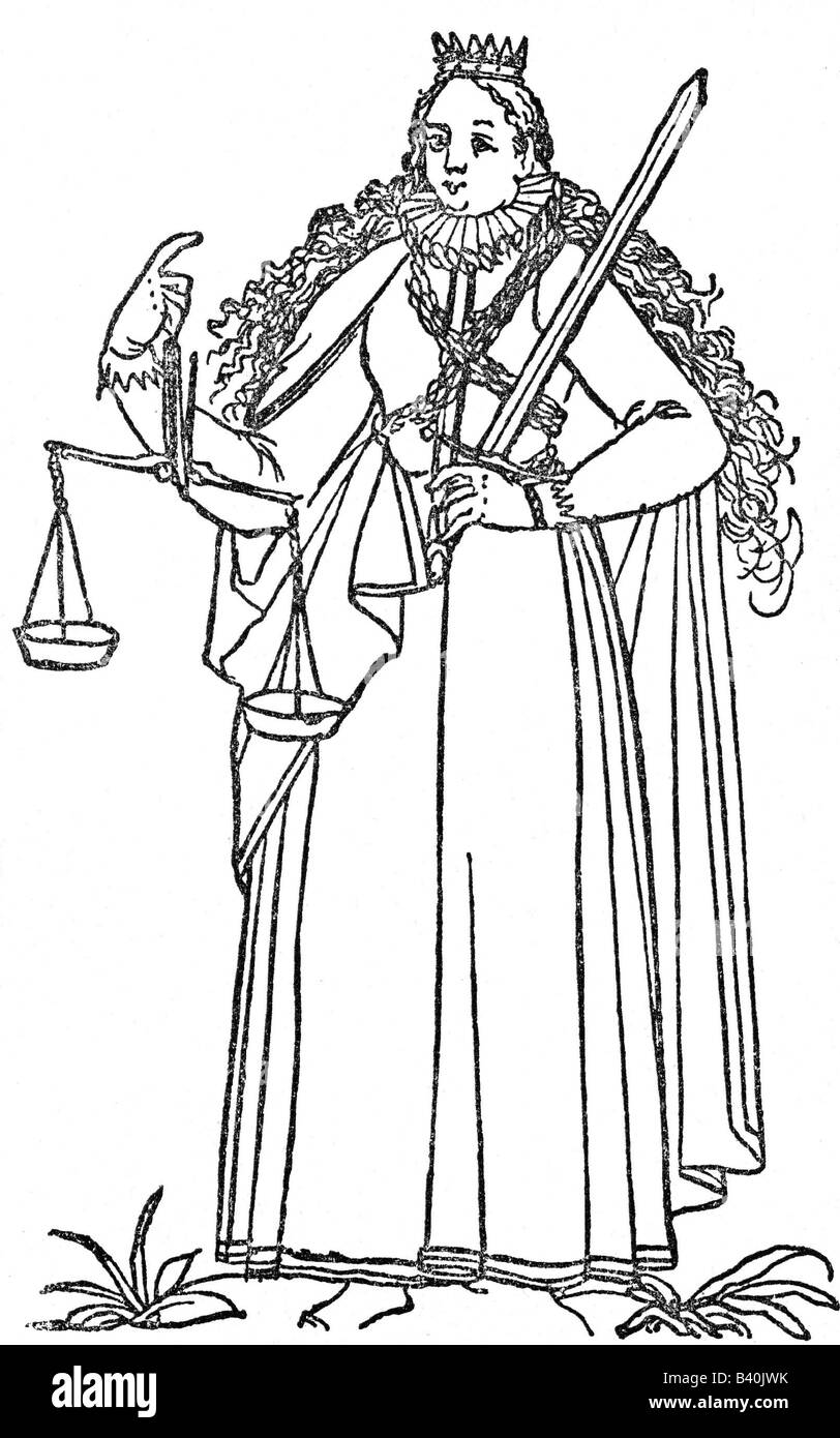 Justitia, Roman goddess of justice, symbols, symbol, scale, sword,  engraving circa 1580, history, , Additional - Stock Image