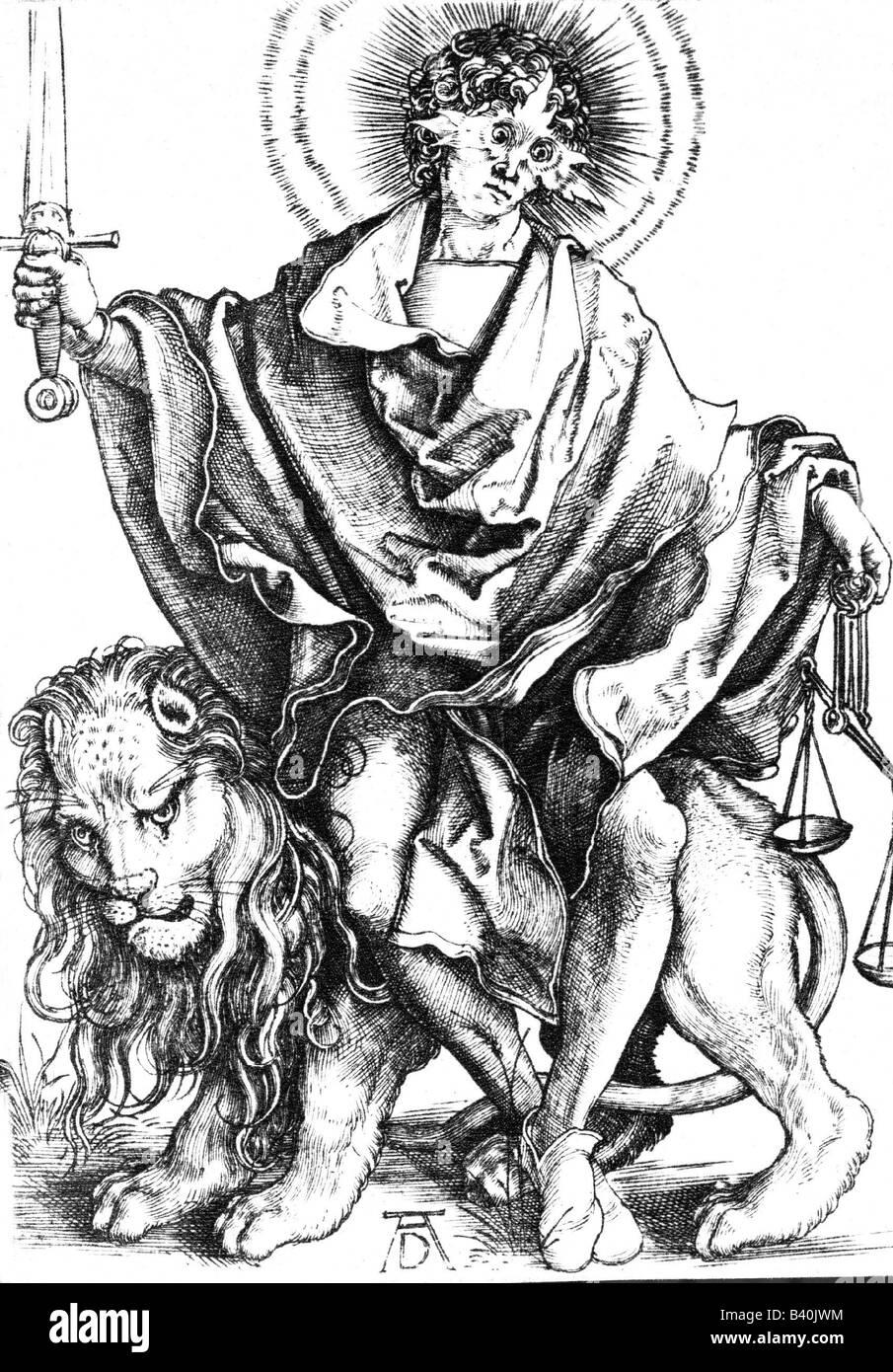 Justitia, Roman goddess of justice, engraving by Albrecht Dürer (1471 - 1528 ), Duerer, Durer,  symbols, symbol, Stock Photo