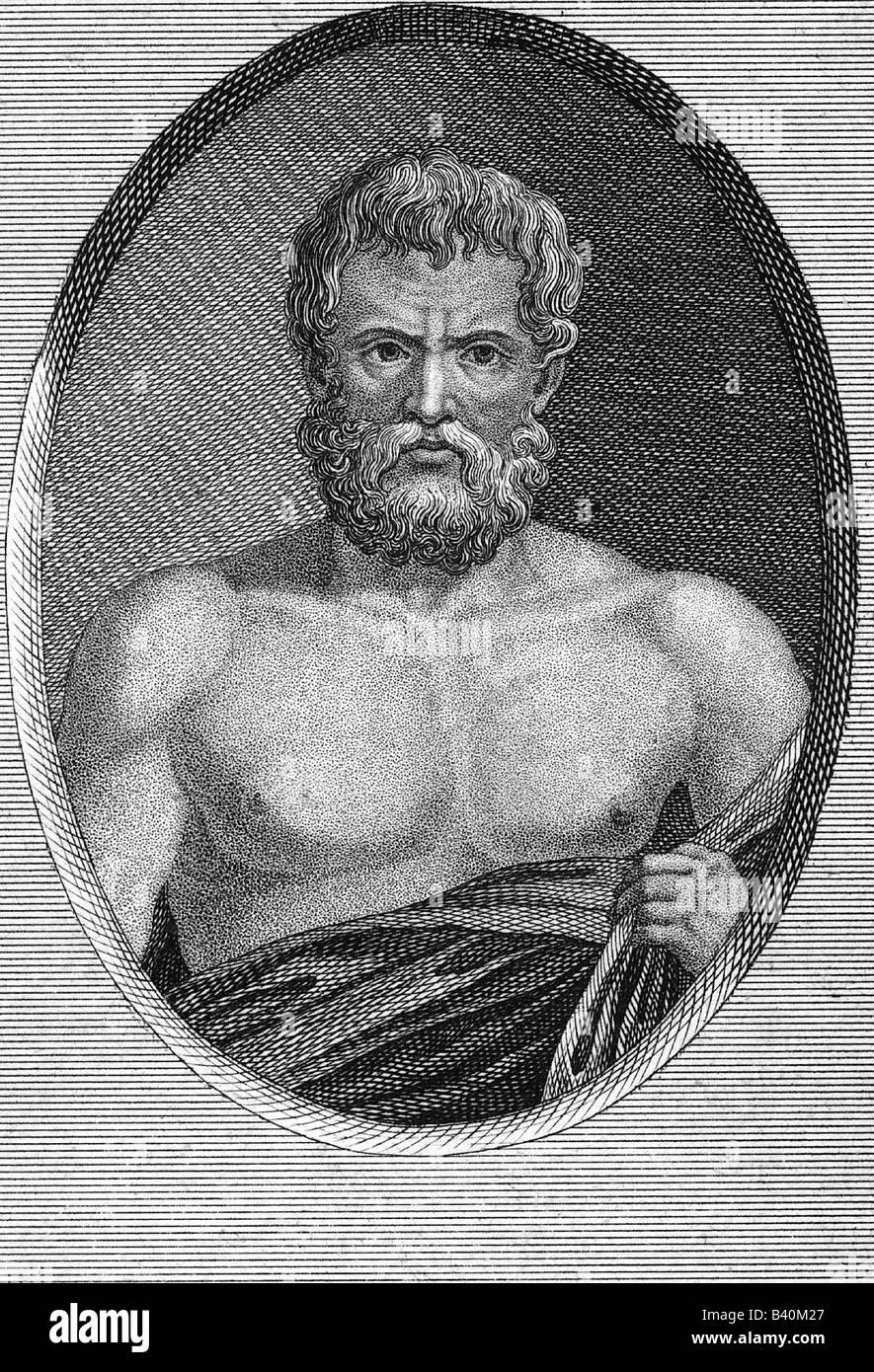 Zeno of Citium, circa 335 - 263 BC, Greek philosopher, half length, original copper engraving, circa 18th century, - Stock Image