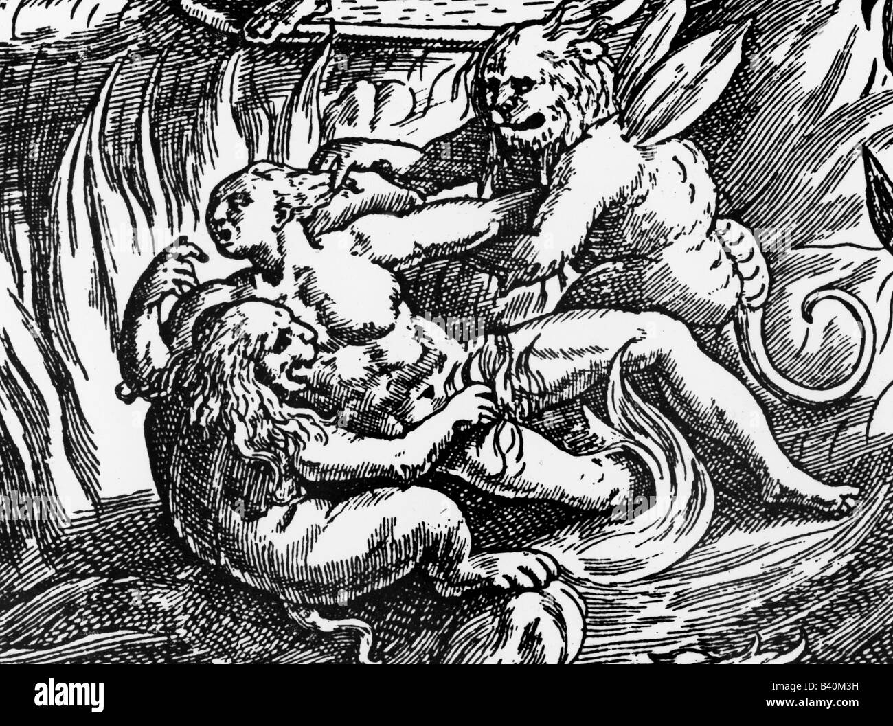 superstition, hell, pains and horrors, copper engraving by Martin de Vos, detail, 16th century, fire, devil, torture, - Stock Image