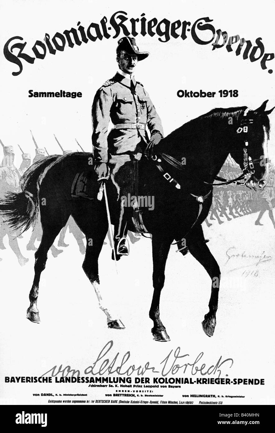 events, First World War / WWI, propaganda, advertisement for the 'Kolonial-Krieger-Spende' (Donation for - Stock Image
