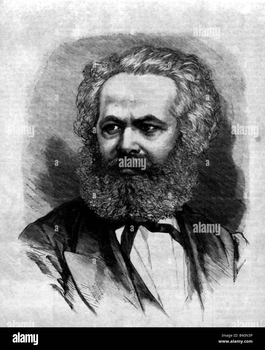 Marx, Karl, 5.5.1818 - 14.3.1883, German philosopher, portrait, engraving 1871, marxism, communism, 19th century, - Stock Image
