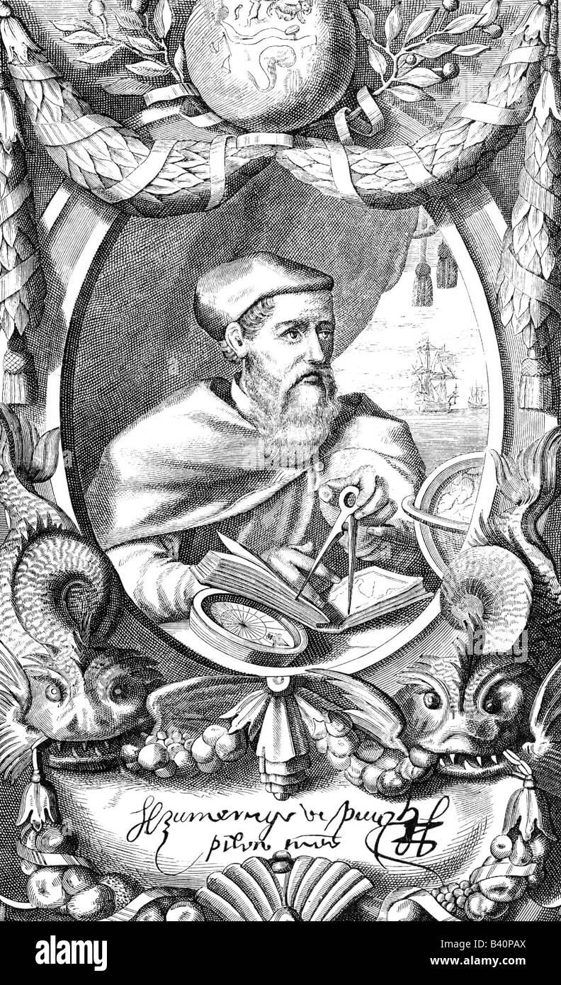 Vespucci, Amerigo, 9.3.1454 - 22.2.1512, Italian navigator, portrait, engraving, signature, seafaring, mariner, - Stock Image