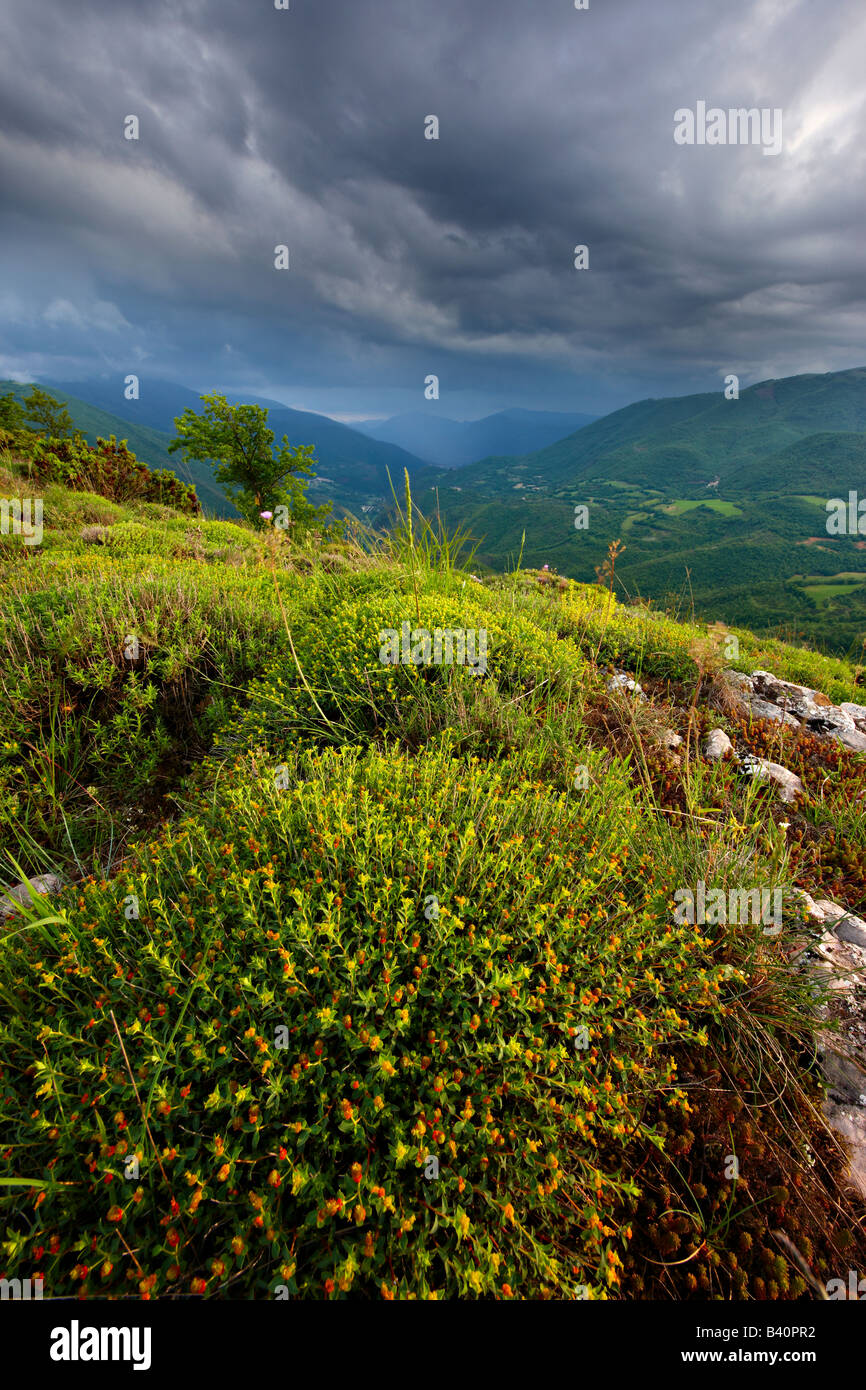 a spring storm in the Valnerina near Meggiano, Umbria, Italy Stock Photo