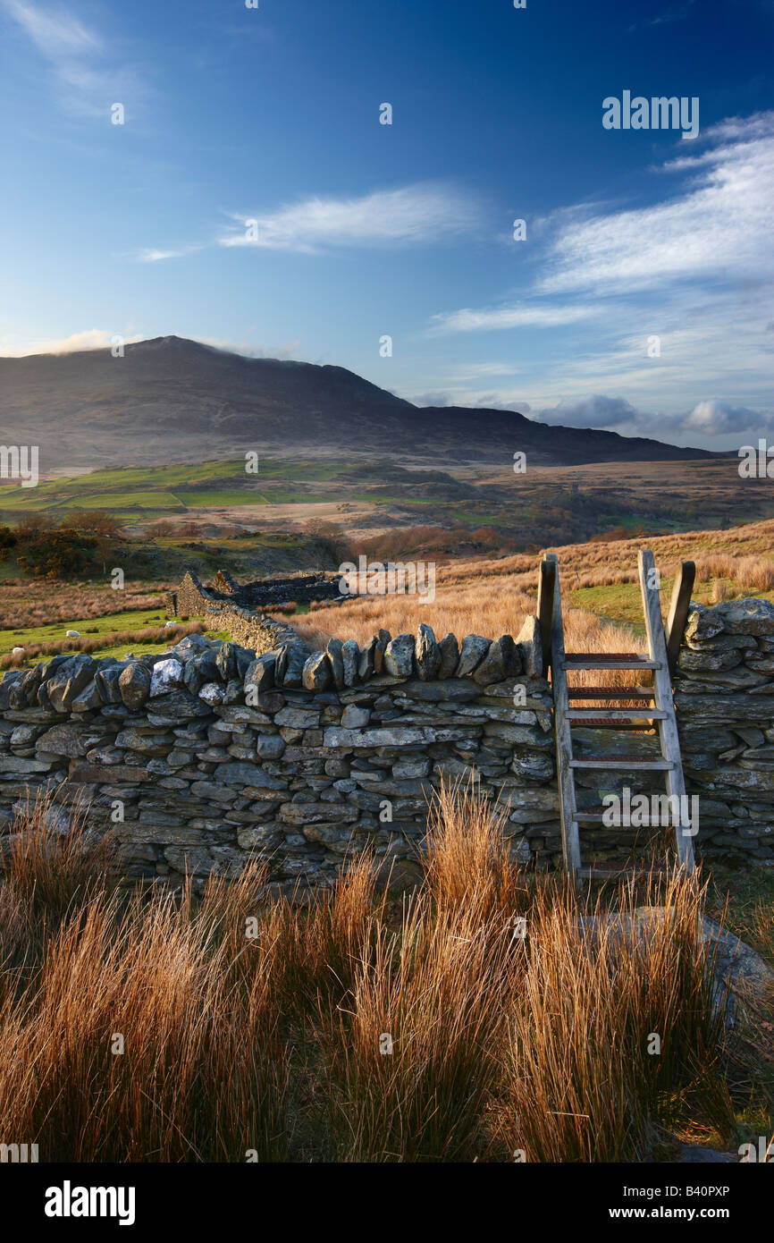 the Glyn Lledr near Dolwyddelan with Moel Siabod beyond, Snowdonia National Park, North Wales, UK - Stock Image
