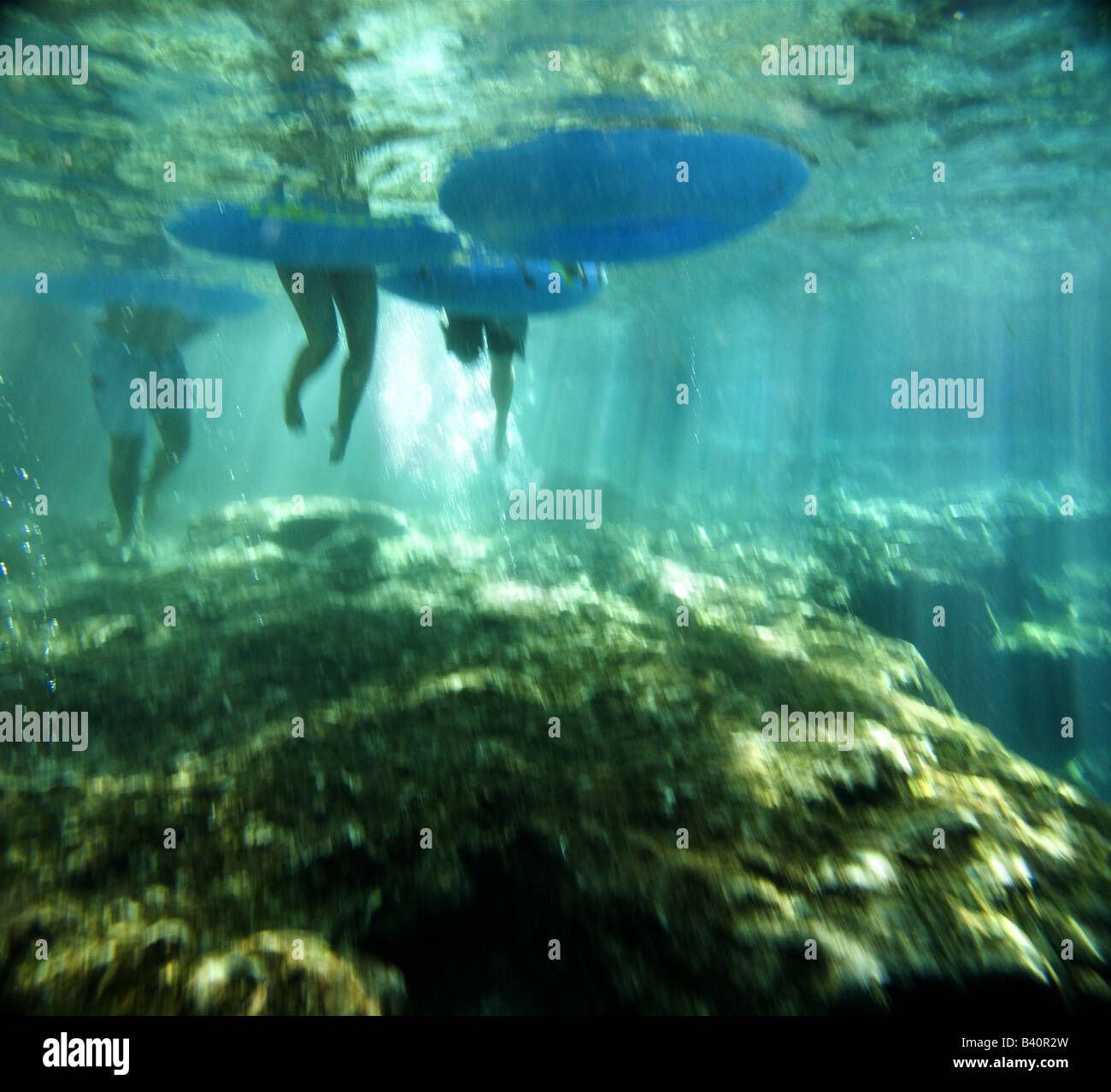 Tubers enter the clear waters of Ginnie Springs before floating out onto the Santa Fe River, Florida - Stock Image