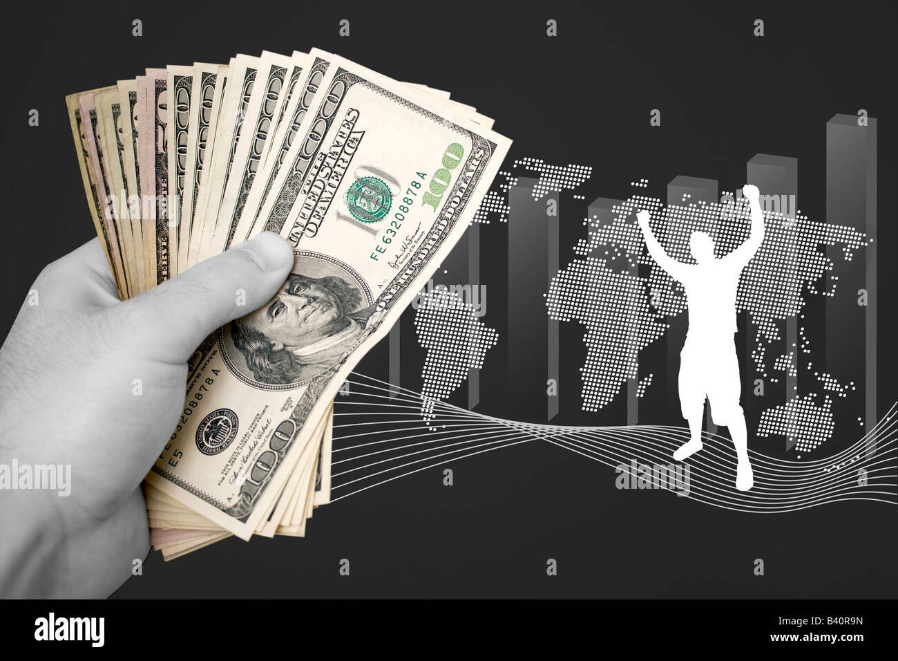 A handful of cash isolated over a business finance themed background - Stock Image
