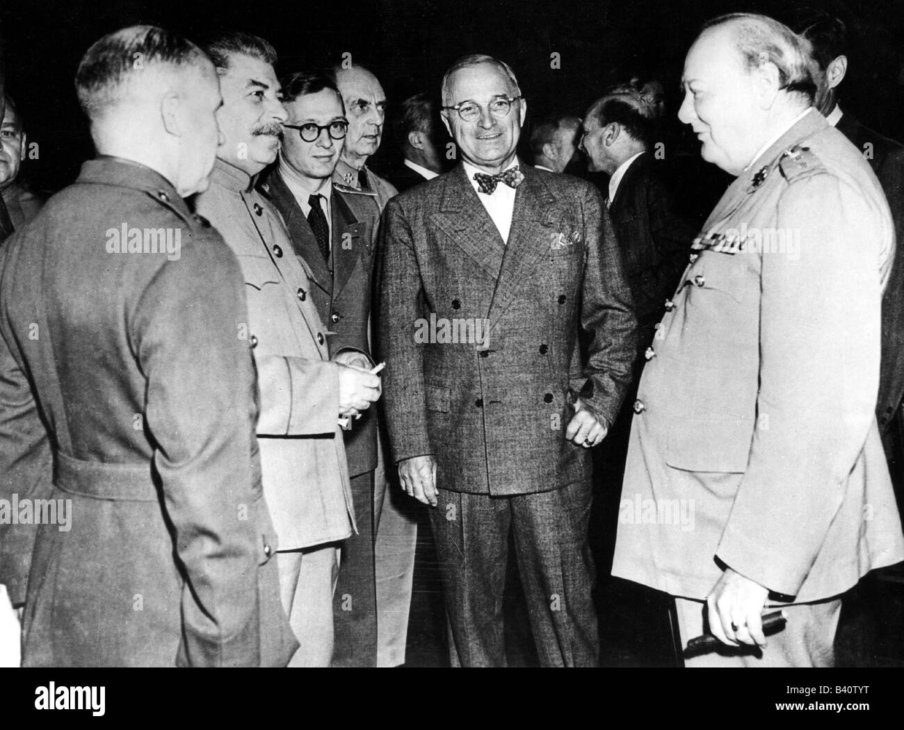 events, Second World War / WWII, conferences, Potsdam Conference 17.7.1945 - 2.8.1945, Joseph Stalin, Harry S. Truman - Stock Image