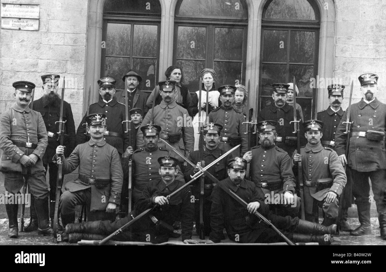 military, Germany, Territorial Army, members of the Prussian Landwehr, postcard, Eckhardt, Bad Muenster am Stein, - Stock Image