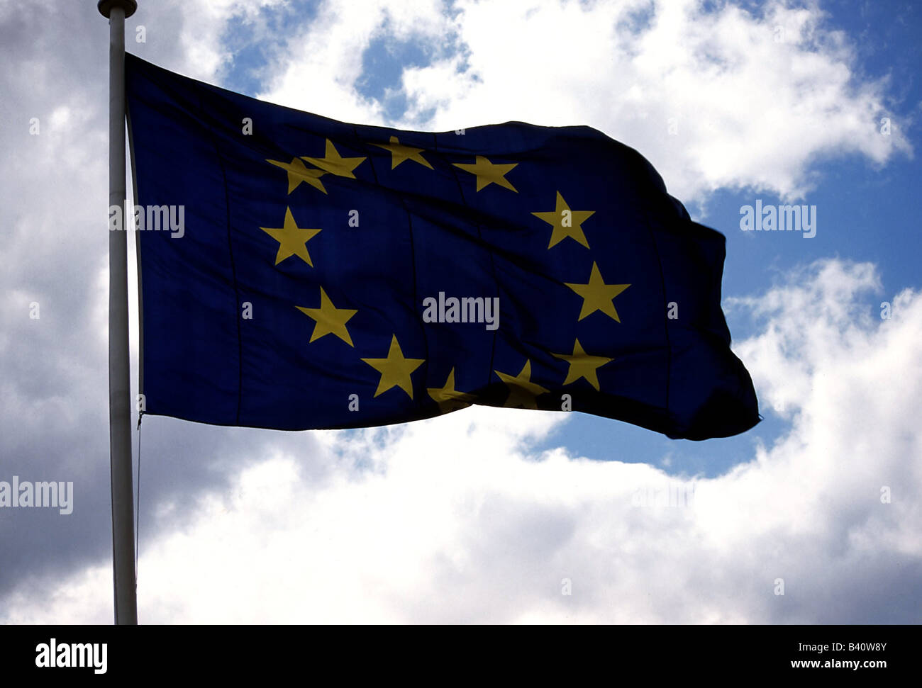 heraldry, colours / banners / flags, European Community, EC, Europe, banner, flag, colour, EU, Union, wind, cloud, - Stock Image