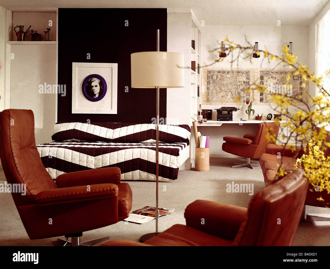 Incroyable Furnishing, Workroom, 1970s, 70s, Historic, Historical, Furniture,  Decoration, Couch, Armchair, Leather,