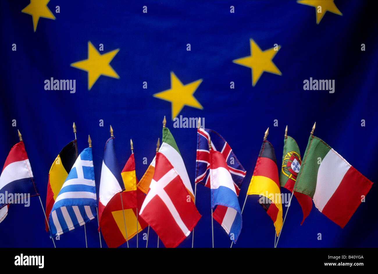 Row of European flags of the EU nations - Stock Image