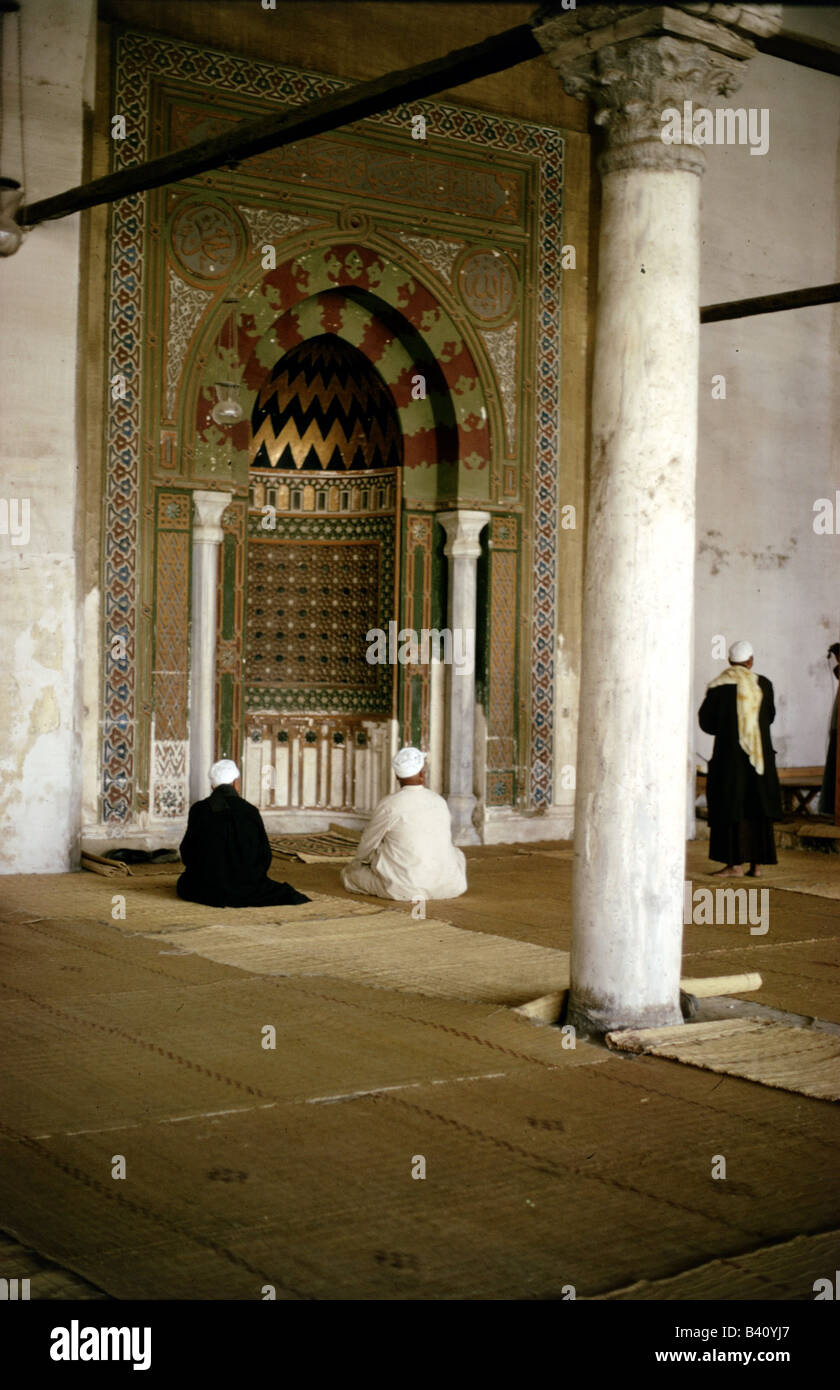 geography / travel, Egypt, Cairo, mosques, Amr-Ibn-Al-As mosque (completed 711 AD), interior view, Mihrab (prayer - Stock Image