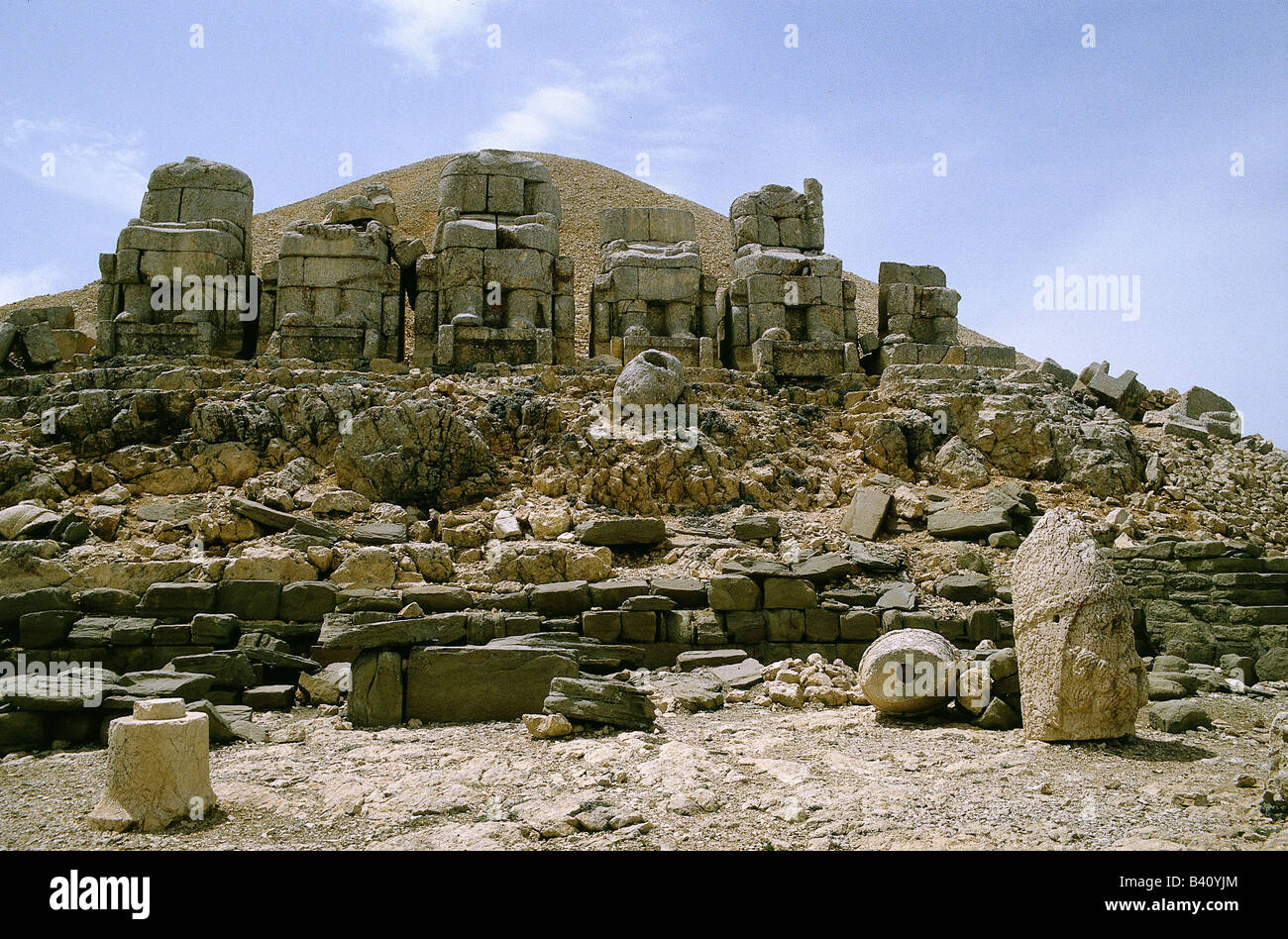 geography / travel, Turkey, Nimrud Dhag, thrones on western terrace, ned for Turkey, Nimrud Dagh, throne, excavations, - Stock Image