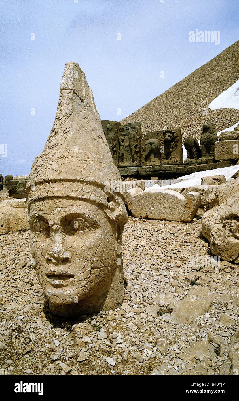 geography / travel, Turkey, Nimrud Dhag, detail, colossal head, throne, excavatons, antiquity, gigantic, , Additional - Stock Image