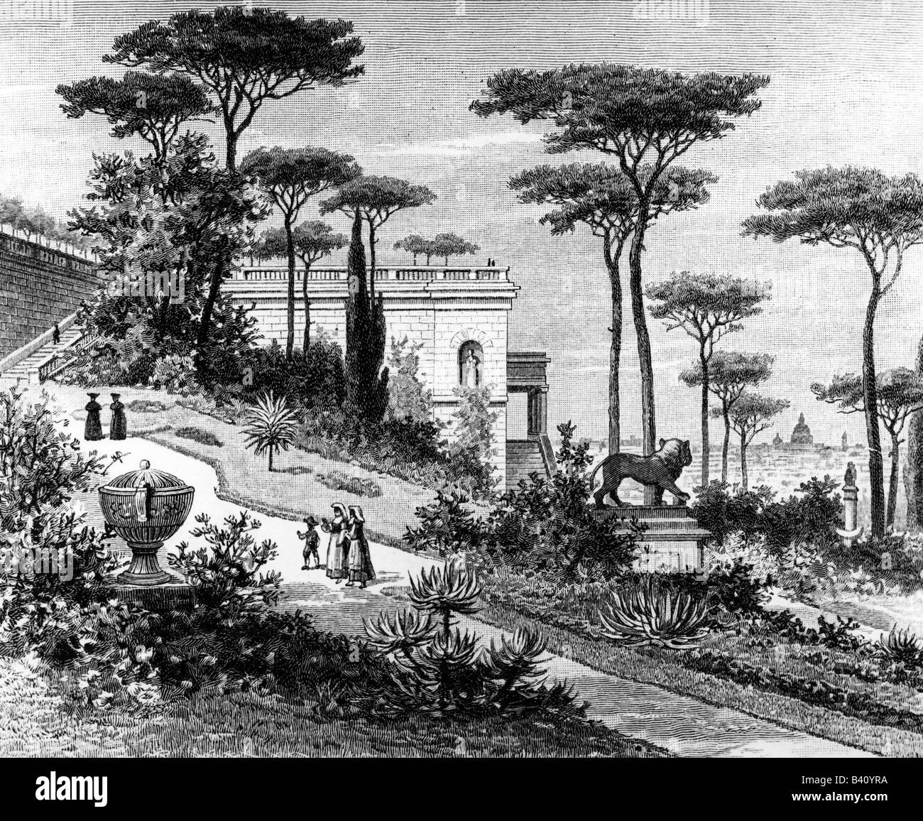 architecture, gardens, park on the Pincian Hill in Rome, view, wood engraving, 19th century, Italy, Monte Pincio, - Stock Image