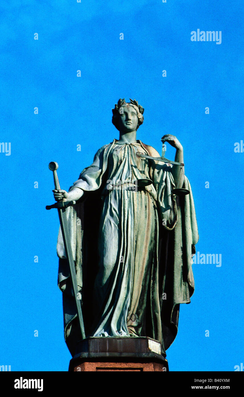 Justitia, Roman goddess of justice, statue, symbols, symbol, scale, sword,  history, , Additional-Rights-Clearances - Stock Image