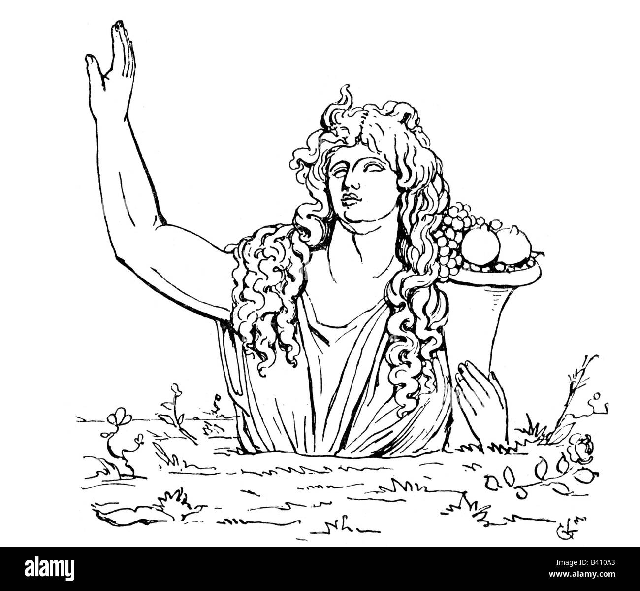 Gaia, goddess, the earth, engraving, 19th century, mother, land, Greece, mythology, Gaea, Ge, , Additional-Rights - Stock Image