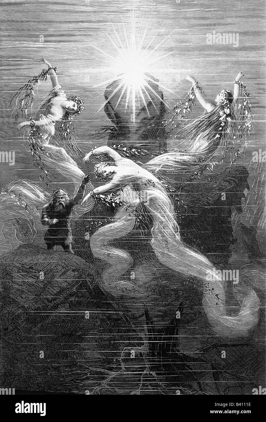 Wagner, Richard, 22.5.1813 - 13.2.1883, German composer, work, opera 'The Rhine Gold' (Rheingold), from - Stock Image